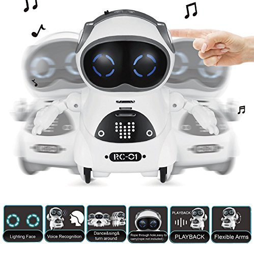 SPACE LION Educational Mini Pocket Robot for Kids Interactive Dialogue  Conversation,Voice Control, Chat Record, Singing& Dancing(White)