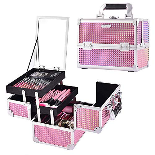 Joligrace Makeup Box Cosmetic Train Case Jewelry Organizer Lockable with Keys and Mirror 2-Tier Tray Portable Carrying with Handle Travel Storage Pink (Cosmetic Organizer Case)