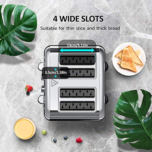 4 Slice Toaster, HOLIFE Stainless Steel Toaster [2 LCD Timer Display] Bagel Toaster (6 Bread Shade Settings, Bagel/Defrost/Reheat/Cancel Function, Wide Slots, Removable Crumb Tray, 1500W, Silver) by Holife (Image #2)