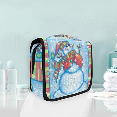 Makeup Cosmetic Bag Snowman Paint Christmas Holiday Colorful Portable Storage Travel Toiletry Bag