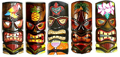 Tropical Tiki Wood - SET OF 5 HAND CARVED POLYNESIAN HAWAIIAN TIKI STYLE MASKS 12 IN TALL turtle pineapple colorful flower parrot