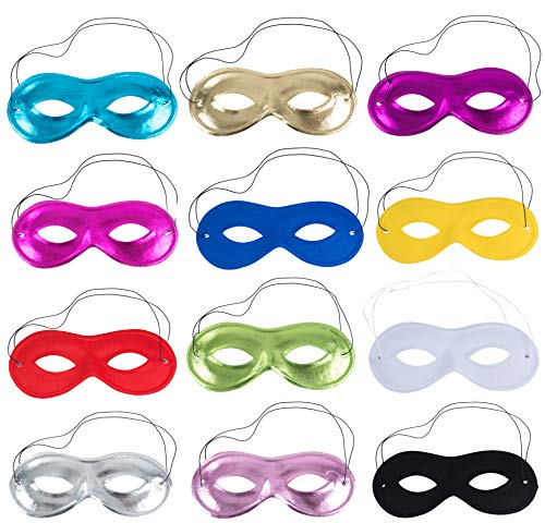 Tigerdoe Metallic Half Masks - Bulk Party Masks - Masquerade Mask - Mardi Gras Party Supplies - 12 Pk -
