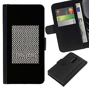 BearCase / Cuero de la tarjeta la carpeta del tirón Smartphone Slots Protección Holder /// LG G3 /// Tv Series Patrón Minimalista Blanca