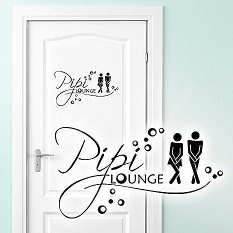 Wandora WC T/üraufkleber Mann /& Frau PIPI Lounge I azurblau 17 x 11 cm I Badezimmer Bad Sticker Aufkleber selbstklebend Wandaufkleber Wandsticker G019 BxH