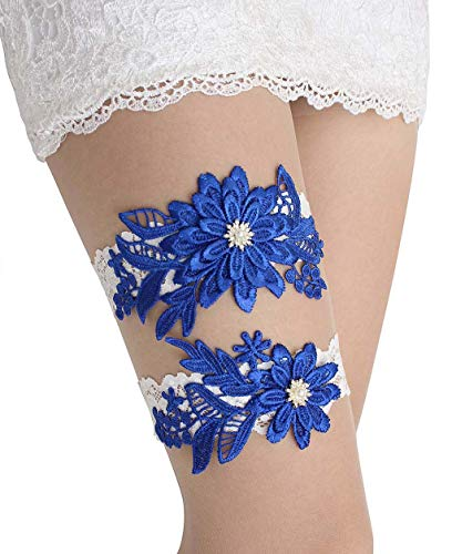 GARGALA Wedding Garters for Bride Bridal Lace Garter Set with Rhainestone Pearls (Royal Blue, Free)