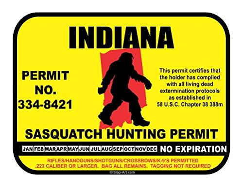 JS Artworks Indiana Sasquatch Hunting Permit License Bigfoot Vinyl Sticker Decal