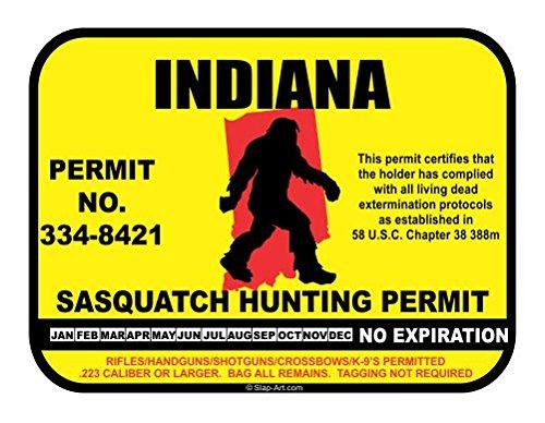 Indiana Sasquatch Hunting Permit License Bigfoot Vinyl Sticker Decal