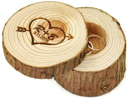 Caja de Anillos de boda personalizable de madera, corazón e iniciales con flecha, regalo para parejas: Amazon.es: Hogar