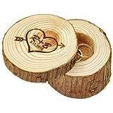 Caja Anillos de Boda Personalizada Inicial De Madera En Forma De Corazón Con Flecha de madera