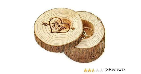 Caja Anillos de Boda Personalizada Inicial De Madera En Forma De Corazón Con Flecha de madera rústica para Boda Regalos para Parejas