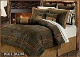 Western Rustic Chocolate Barbwire Bedding Set 7pc Super Queen
