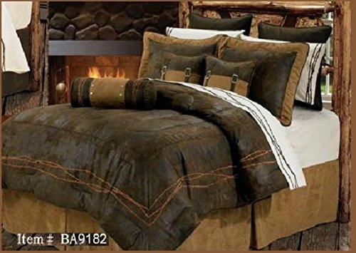 Western Rustic Chocolate Barbwire Bedding Set 7pc Super Queen by H&H Designs