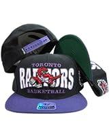Toronto Raptors Black Block Two Tone Plastic Snap Back Hat/Cap