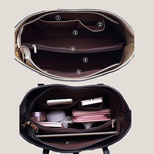 tout à 4pcs en sac la Set fourre sac Mode de Black main PU SIFINI à bandoulière Sac carte Femmes cuir à titulaire large main UYq8FxIw1