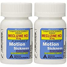 Meclizine 25 mg Generic For Bonine Chewable Tablets for Prevention of Motion Sickness and Anti-Nausea 100 Tablets per Bottle Pack of 2 Total 200 Tablets