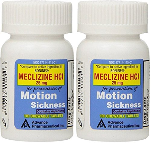 Meclizine 25 mg Generic For Bonine Chewable Tablets for Prevention of Motion Sickness and Anti-Nausea 100 Tablets per Bottle Pack of 2 Total 200 - Motion Sickness Pills