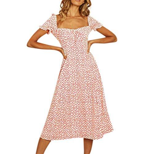 mouw damesjurk Sexy Dot rood korte Sonnena Casual Polka Chiffon zomer qOXdZHw