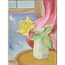 Original Art: Yellow Rose, Pink Drape