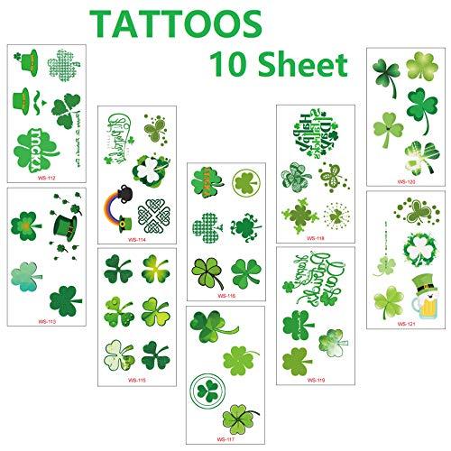 St. Patrick's Day Green Shamrock Patterned Tattoos Irish Shamrock Tattoos for Party Parade Family -