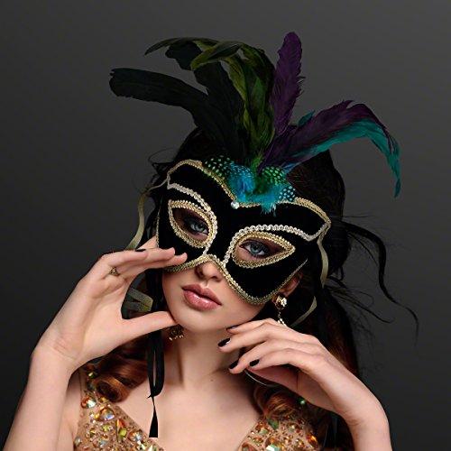 - Velvet Venetian Mardi Gras Masquerade Mask with Feathers (Non-Light Up) Black, Gold