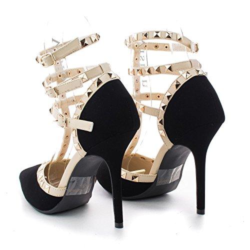 Arc-en-ciel zapatos de las mujeres de la hebilla tachonada de tacón alto de la sandalia Negro2