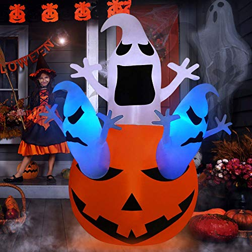 PETUOL Halloween Inflatable Decoration Pumpkin Ghost,5 Foot Airblown Pumpkin with 3 Ghosts for Home Yard Garden Indoor and Outdoor Decor Led Breath Light