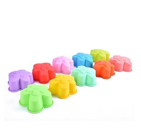 Leisial 10pcs de Silicona del Molde de la Torta Molde de Gelatina Moldes de Jabón Color
