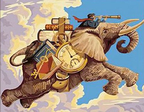 Greek Art Paintworks Paint Color By Number,Time Traveler Elephant,16-Inch by 20-Inch