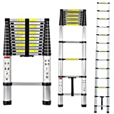 KingYuan Folding 12.5FT/16.5FT Aluminum Multi Purpose Ladder Telescoping Telescopic Extension Ladder 330 Pound Capacity (12.5FT)
