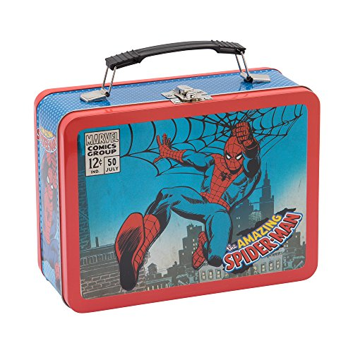 Spider Man Lunch (Vandor Marvel Spider-Man Large Tin Tote, 3.5 x 7.5 x 9 Inches (55525))