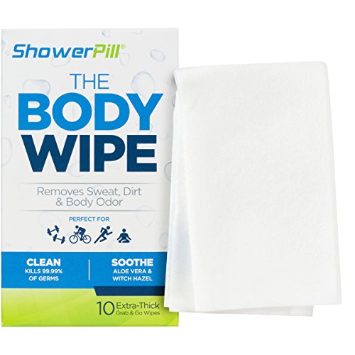 ShowerPill Athletic Body Wipes for Cleansing and Deodorizing, 10 Count