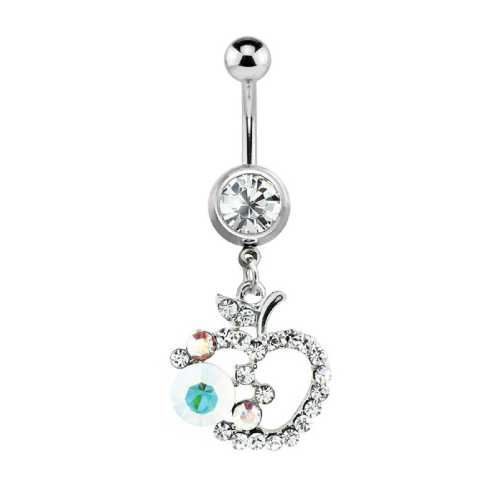 Sold Individually Freedom Fashion Multi Colored Gem Paved Apple Dangle 316L Surgical Steel Navel Ring