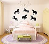 Unicorn Silhouette Large Vinyl Peel and Stick Wall Decal Set