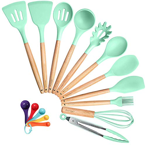 Mirviory Silicone Kitchen Utensil Set, 16pcs Cooking Utensils with Natural Wooden Handles, Heat-resistant Non-toxic Nonstick Kitchen Tools, Spoon Turner Spatula Measuring Spoon (BPA Free, Mint Green) ()