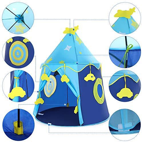 Tienda Campaña Infantil con Ventana,Tiendas de Campaña Infantiles para Interiores y Exteriores, Tienda Campaña Niños,Casitas Infantiles Tela,Tienda de Juego para niños con Placa de puntuación (Azul)