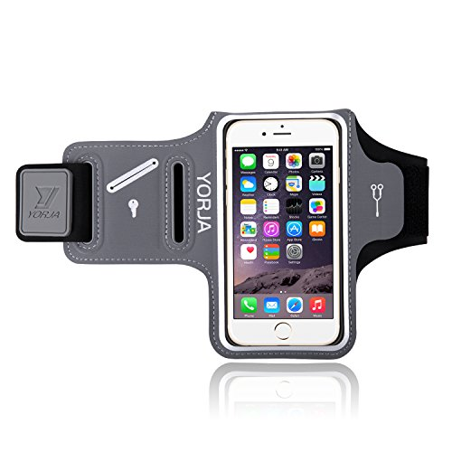 Price comparison product image Running Armband for Apple/Samsung,YORJA iPhone X/8/7/6/6s & Galaxy S7/S6/S5 Sports Case for Jogging,Workout,Fitness,Gym,Sweatproof Arm Band with Key Holder,Card & Money Pocket (Gray)