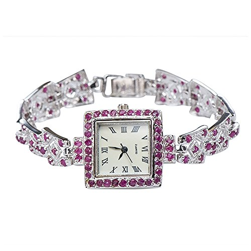 Caratera Fine Jewelry Natural African Ruby Antique-like Vintage Square Motif Watch 925 Silver from Caratera Fine Jewelry