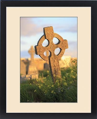 Framed Print of Inishmore Island. Aran Islands. Ireland. Celtic cross in sunset by Fine Art Storehouse