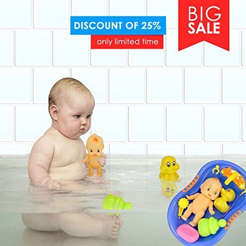 Rainbowkids New released 7 pcs Funny Baby Doll in Bath Tub With Shower Accessories Set,water sprayer including baby doll, ducky, milk bottle and soap,for 3 months old up using