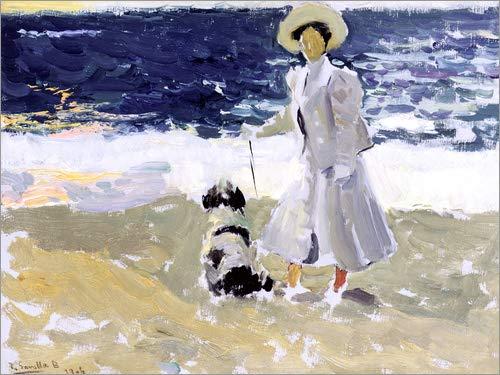 cuadro sobre bastidor Lienzo 70 x 50 cm: Lady and Dog on the Beach de Joaquin Sorolla y Bastida // Bridgeman Images impresi/ón en lienzo l/ámina terminada sobre lienzo aut/éntico cuadro terminado