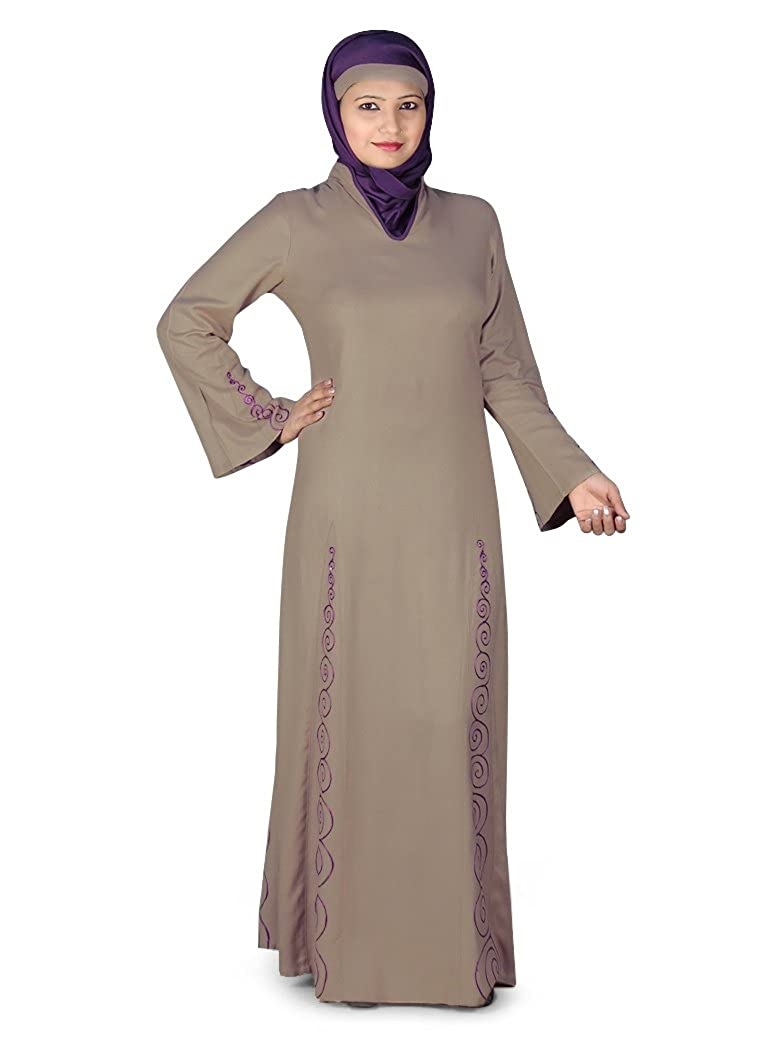 MyBatua Women's Beautiful Panel Embroidered Rayon Abaya