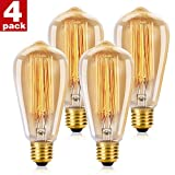 WEDNA Vintage Edison Light Bulb 40w Retro Old Fashioned ST64 E27 Screw 220V Tungsten Filament Glass Antique Lamp - 4 Pack
