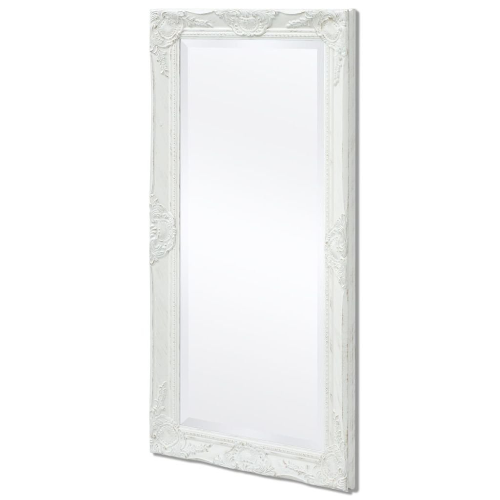 BLXCOMUS White Bathroom Wall Mount Standing Mirror Holder,Baroque Style Wall Mirror 39.4''x19.7'',With Four Mounting Hooks