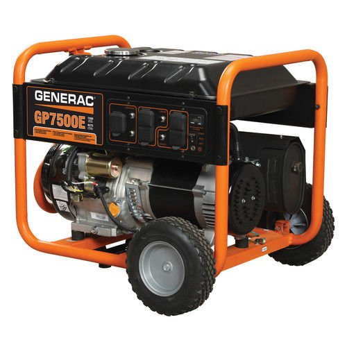 Generac 5943 GP7500E 7500 Running Watts/9375 Starting Watts Electric Start Gas Powered  Portable Generator (Discontinued by Manufacturer) (Generac Generator Gas)
