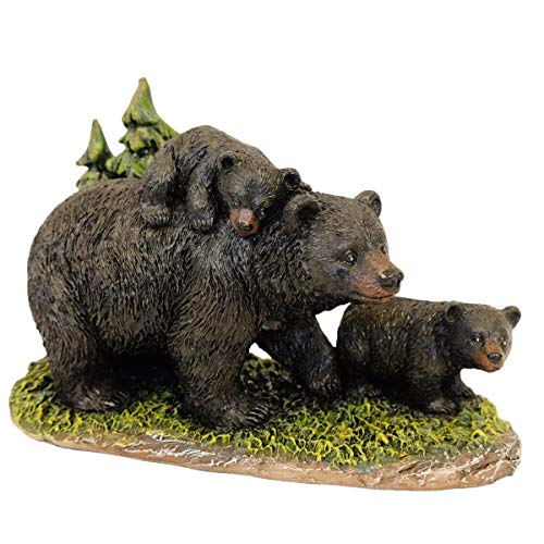 DeLeon Collections Mama Black Bear with Cubs Figurine -