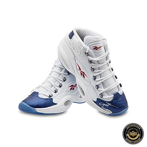 Allen Iverson Signed Reebok Question Mid Shoes with Blue Toe – 76ers – Autographed NBA Sneakers