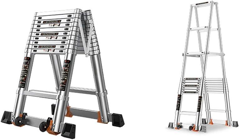 ZR- Portátil Aluminio Escalera Telescópica, Cuadro Tipo A Escalera Plegable Escalera De Extensión, Capacidad De 330 Lb, Certificado EN131 -Fácil de almacenar y fácil de llevar (Size : 4.5m(14.7ft)): Amazon.es: Hogar