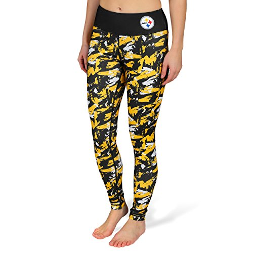 NFL Pittsburgh Steelers Women's Shatter Repeat Print Leggings, Small, Black by Team Beans, LLC
