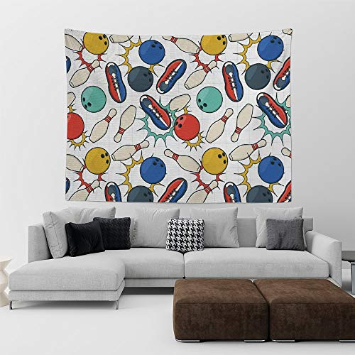HE - Fashion Bowling Doodle Retro Style Ball Pins and Shoes Tapestry Wall Hanging Printed tablecloths, Wall Decor, for Home Art Apartment Dorm Room Decoration(60 x 70 inches) (Desert Palm Bowling)