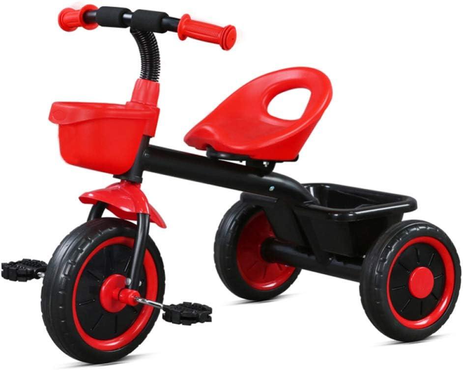 shuhong Rueda Silenciosa De EVA del Triciclo De La Bici De Los Niños 3, Marco De Acero De Alto Carbono De Un Peso Más Ligero, con La Cesta Delantera Y Trasera 2-5 Años,Red